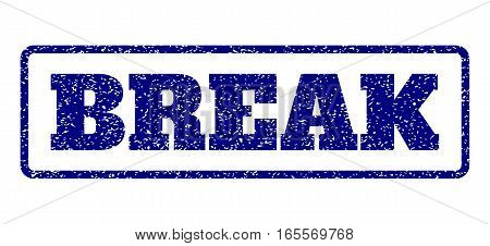 Navy Blue rubber seal stamp with Break text. Vector tag inside rounded rectangular frame. Grunge design and unclean texture for watermark labels. Horisontal sticker on a white background.