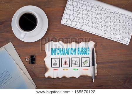 Information Bubble. Computer keyboard and a coffee mug on a wooden table.