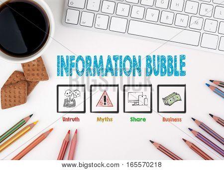 Information Bubble, Business concept. White office desk.