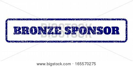 Navy Blue rubber seal stamp with Bronze Sponsor text. Vector message inside rounded rectangular banner. Grunge design and dust texture for watermark labels. Horisontal emblem on a white background.