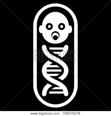 Baby Genome vector icon. Flat white symbol. Pictogram is isolated on a black background. Designed for web and software interfaces.