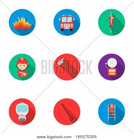 Fire department set icons in flat style. Big collection of fire department vector symbol stock
