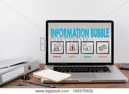 Information Bubble. Wooden Office desk with a laptop