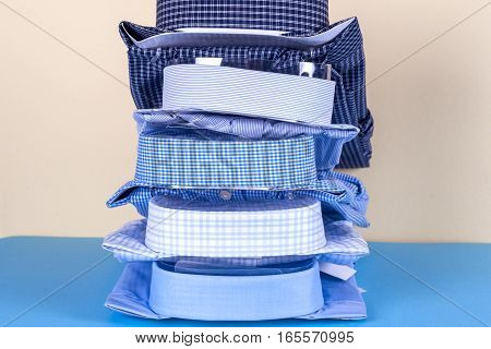 stack of Shirts knitwear space for text