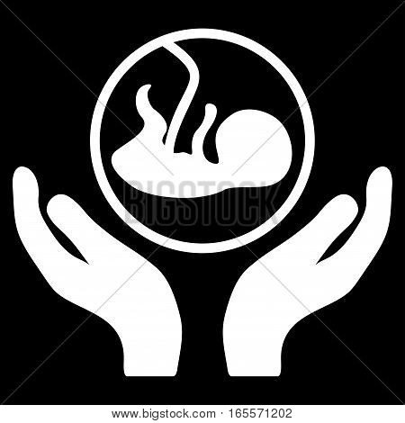 Embryo Care Hands vector icon. Flat white symbol. Pictogram is isolated on a black background. Designed for web and software interfaces.