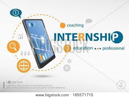 Internship Word Cloud Concept And Realistic Smartphone Black Color.