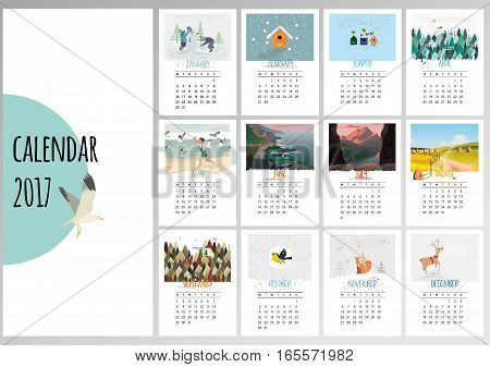 Colorful cute monthly calendar 2017. Can be used for web, banner, poster, label and printable. Vector