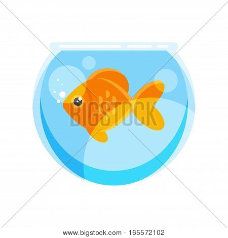 Vector flat style illustration of goldfish. Isolated on white background. Icon for web.