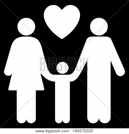 Family Love vector icon. Flat white symbol. Pictogram is isolated on a black background. Designed for web and software interfaces.
