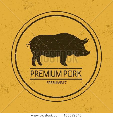 Dark mark for pork.Silhouette of pig.Grunge effect.Vector symbol