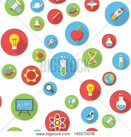 Seamless pattern with science icons vector illustration