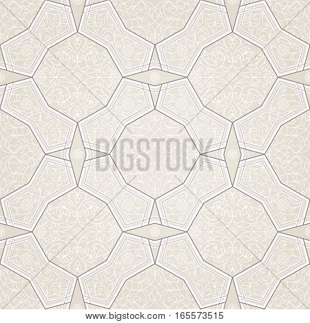 Vector seamless pattern with geometric ornament. Vintage design element in Eastern style. Ornamental lace tracery. Ornate floral decor for wallpaper. Traditional arabic decor on beige background.