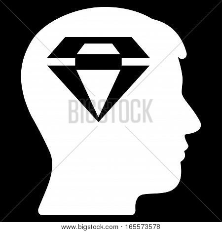 Human Head With Diamond vector icon. Flat white symbol. Pictogram is isolated on a black background. Designed for web and software interfaces.