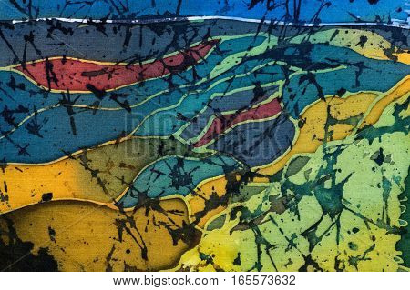 Rice Terraces, Fragment, Hot Batik, Handmade Art, Silk, Background Texture