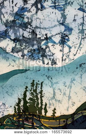 Rice Terraces, Landscape With Mountains, Fragment, Hot Batik, Handmade Art On Silk , Background Text