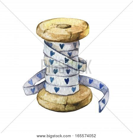 Rare vintage cotton ribbon spool with blue hearts. Hand drawn watercolor painting on white background