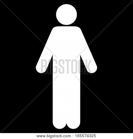 Male vector icon. Flat white symbol. Pictogram is isolated on a black background. Designed for web and software interfaces.