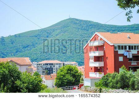 Multi-storey Houses In The Mountains Of Montenegro, Budva.