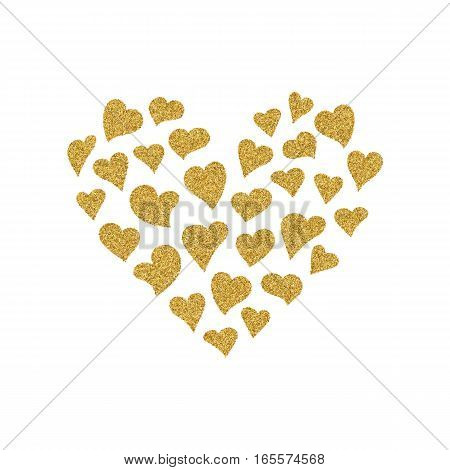 Valentines Day card with gold glitter hearts. Postcard with a lot of heart containing little hearts