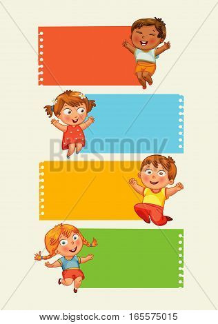 Back to school. Collection of infographics elements in the form of paper tape for various purposes. Funny cartoon character. Vector illustration. Set