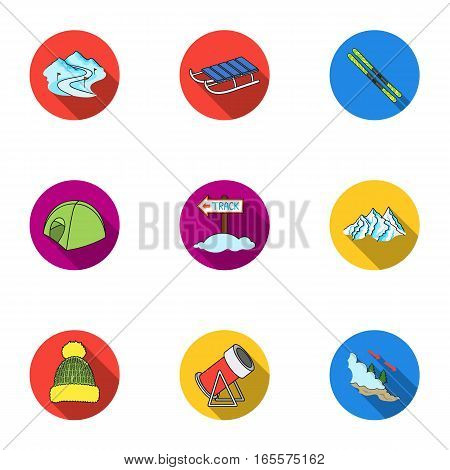 Ski resort set icons in flat style. Big collection of ski resort vector symbol stock