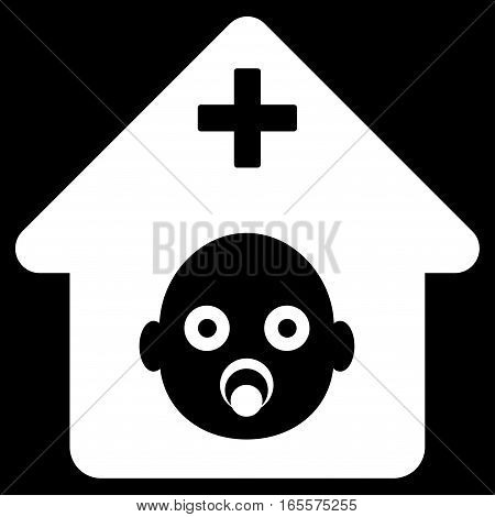 Prenatal Hospital vector icon. Flat white symbol. Pictogram is isolated on a black background. Designed for web and software interfaces.