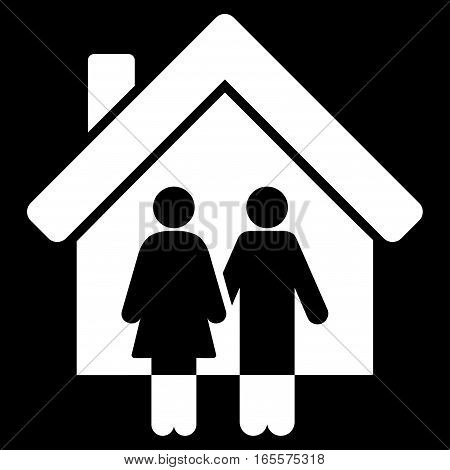 Property vector icon. Flat white symbol. Pictogram is isolated on a black background. Designed for web and software interfaces.