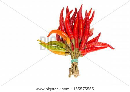 A lot of red hot pepper on a white background