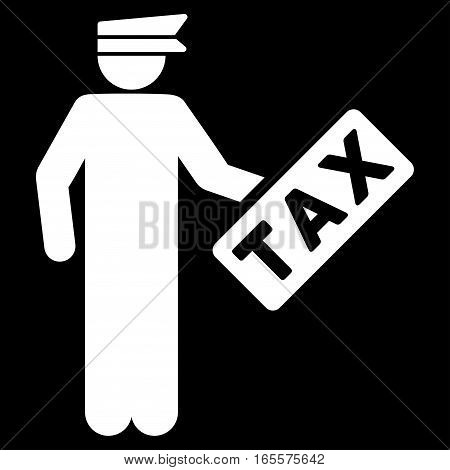 Tax Officer vector icon. Flat white symbol. Pictogram is isolated on a black background. Designed for web and software interfaces.