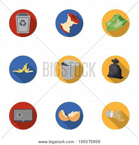 Trash and garbage set icons in flat design. Big collection of trash and garbage vector symbol stock illustration