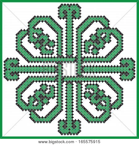 Celtic endless knot in square clover with hearts elements in tile  shape in black and green cross stitch pattern  inspired by Irish St Patrick's day and ancient Scottish culture