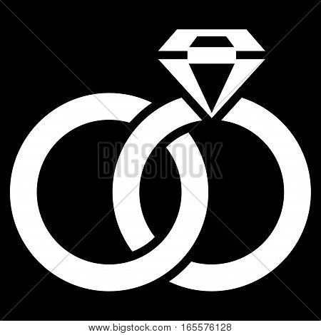 Wedding Rings With Gem vector icon. Flat white symbol. Pictogram is isolated on a black background. Designed for web and software interfaces.