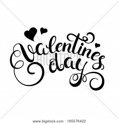 Happy valentines day handwritten text with hearts. Calligraphy for greeting card. Vector illustration.