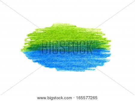 Abstract bright blue and green color hand drawn texture for design on white background