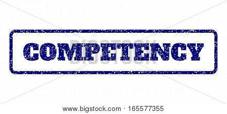 Navy Blue rubber seal stamp with Competency text. Vector message inside rounded rectangular banner. Grunge design and scratched texture for watermark labels. Horisontal sign on a white background.