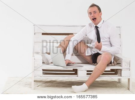 Surprised Businessman With Laptop