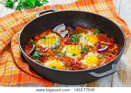 Fried Eggs, Onion, Bell Pepper, Tomatoes, Chilli And Spices