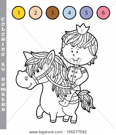 Vector illustration coloring by numbers educational game with cartoon boy for kids