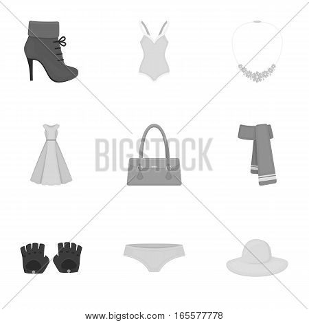 Clothes set icons in monochrome style. Big collection of clothes vector symbol stock