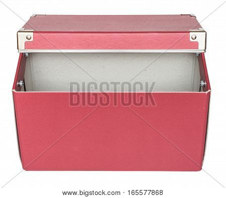 Haft-open red cardboard box with metal findings. Isolated on the white background top-side view no shadow.