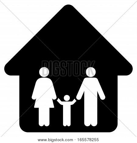 Family Home vector icon. Flat black symbol. Pictogram is isolated on a white background. Designed for web and software interfaces.