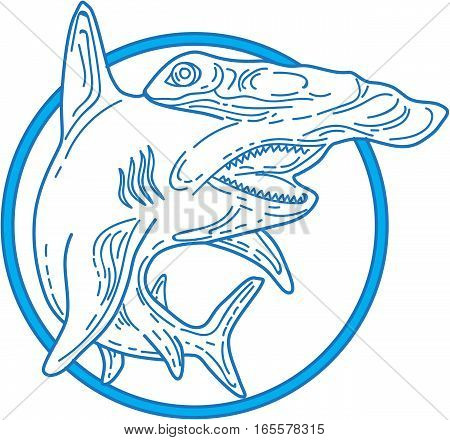 Mono line style illustration of a hammerhead shark set inside circle on isolated white background.