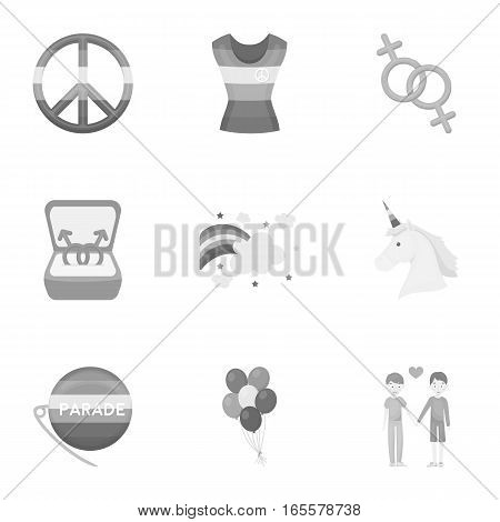 Gay set icons in monochrome style. Big collection of gay vector symbol stock