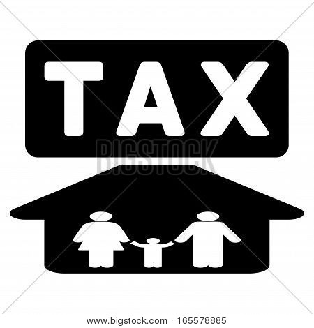Family Tax Pressure vector icon. Flat black symbol. Pictogram is isolated on a white background. Designed for web and software interfaces.