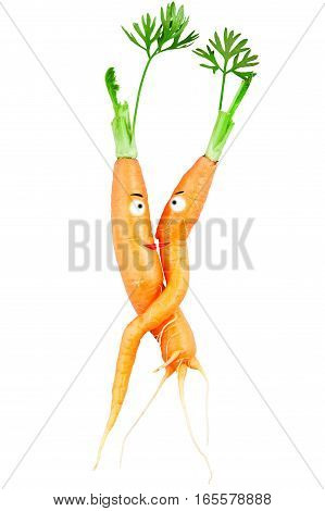 Embrace of love two carrots isolated on white background love concept for Valentine's Day