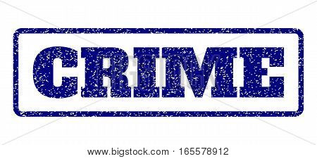 Navy Blue rubber seal stamp with Crime text. Vector message inside rounded rectangular frame. Grunge design and dirty texture for watermark labels. Horisontal sign on a white background.