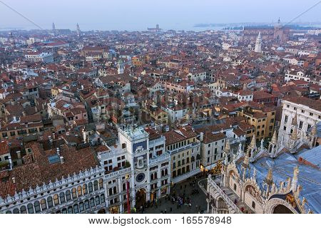 Panoramic view of Venice - watch tower Italy