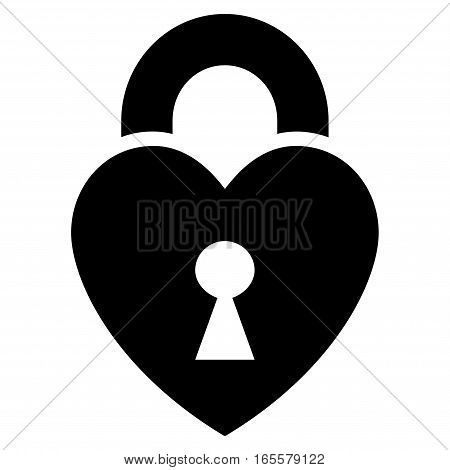 Heart Lock vector icon. Flat black symbol. Pictogram is isolated on a white background. Designed for web and software interfaces.