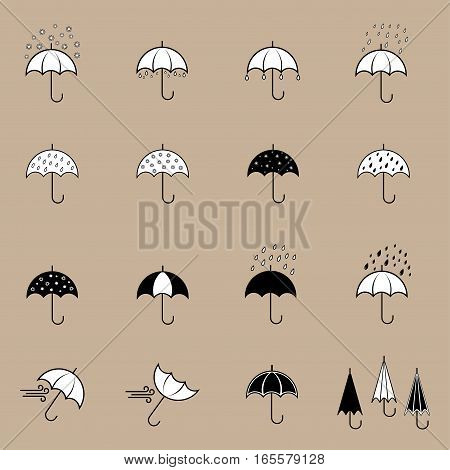 Icons set with umbrellas in different color.