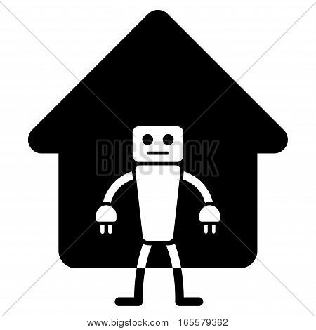 Home Robot vector icon. Flat black symbol. Pictogram is isolated on a white background. Designed for web and software interfaces.